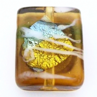 20 Topaz Silver Foiled Lampwork Glass Beads